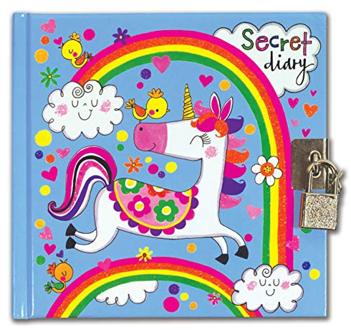 Rachel Ellen Designs Girls Rainbow Unicorn Secret Diary, Lock and Keys Included, Private Journal