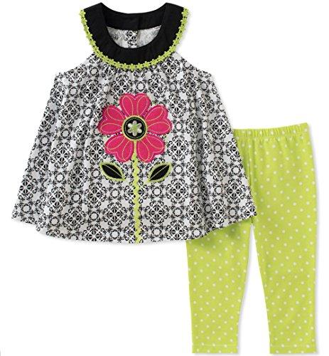 Kids Headquarters Baby Girls Tunic Set-Sleeveless, Black/White/Green, 12M