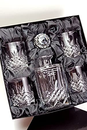 crystal whiskey decanter set uk personalized ebay engraved piece whisky satin presentation box