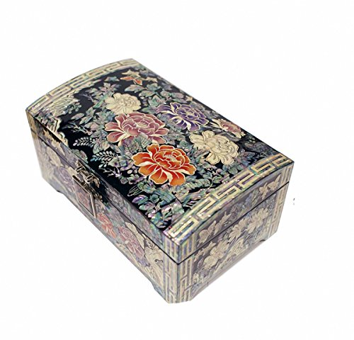 JMcore Mother of Pearl Peony Flower Design Jewelry Box Nacre Artian Handcrafted Jewellry Case by JMcore High Quality Jewelry Box
