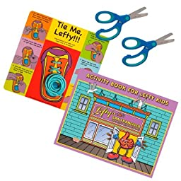 4 Pieces Cut, Tie and Color Set with Blue Scissors, Learn to Tie, and Activity Book for Left Handed Blue