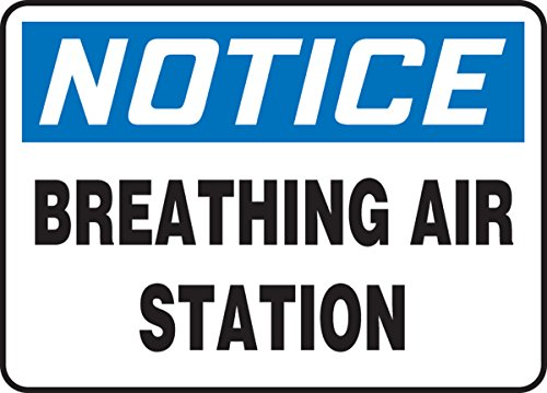 Accuform MFSD821XT Dura-Plastic Sign, Legend 'Notice Breathing Air Station', 10' Length x 14' width x 0.060' Thickness,...