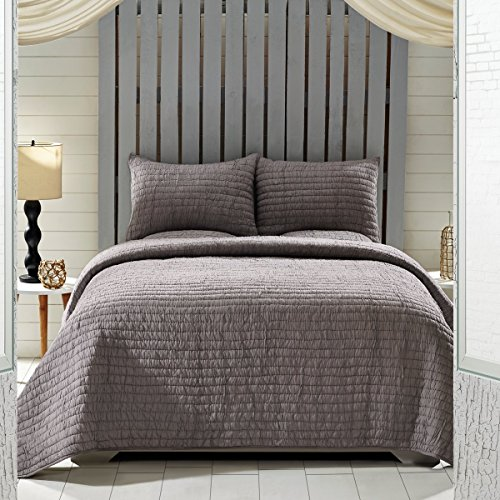 VHC Brands Rochelle Grey King Set; 1-Quilt 95X105 w/ 2 SHAMS 21X37
