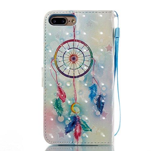 iPhone 7 Plus Hülle Feather Windspiele PU Leder Wallet Handytasche Flip Etui Schutz Tasche mit Integrierten Card Kartensteckplätzen und Ständer Funktion Für Apple iPhone 7 Plus + Zwei Geschenk