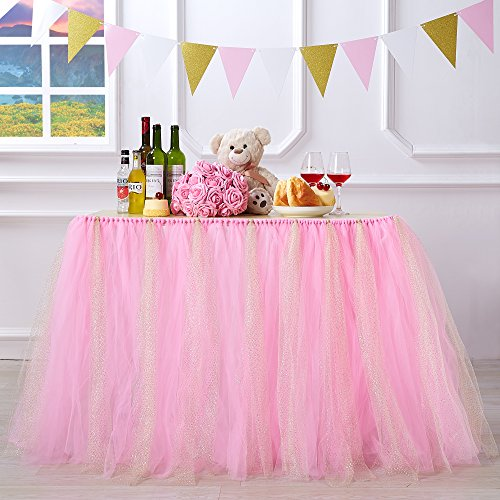 MACTING Handmade Glitter Sparkle Tutu Tulle Table Skirt Cover Improved for Girl Princess Birthday Party Baby Showers Weddings Holiday Parties Home Decoration, 47