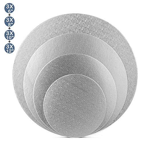 (Tebery 12 Pack SilverCake Boards Round Cake Circles Cake Base Cardboard - 6 + 8 + 10 + 12 Inch)