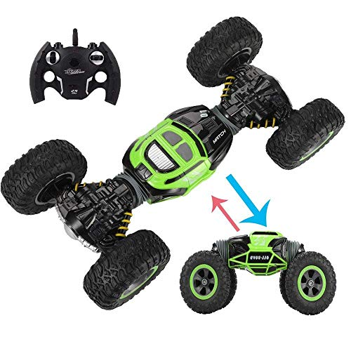 WXL 2019 Double Sided Flip RC Stunt Car, 4WD High Speed Racing Cars 2-Sided Stunt Vehicle Off-Road Vehicle 2.4Ghz Transform Monster Trucks Rock Crawler Buggy Hobby Car
