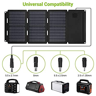 NusGear 30W Foldable Solar Panel Charger 2 Output Ports Water-Resistant Material for Portable Power Station Generator USB Devices QC3.0 USB Ports Summer Camping Laptop Cellphone : Garden & Outdoor