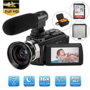 Image of Camcorders 4K Camcorder Video Camera WiFi Digital Camcorder (Included 32 G SD Card) with Microphone Wide Angle Lens 3.0in 270° Rotation LCD Touch Screen LED Light IR Night Vision Vlogging YouTube