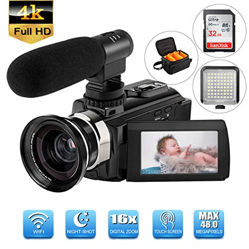 Camcorder Digital Video Camera with Microphone Wide Angle Lens HD 4K WiFi 3.0in 270° Rotation LCD Touch Screen LED Light IR Night Vision 2160 P Camcorder 16X Digital Zoom (Included 32 G SD Card)