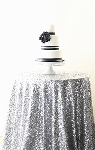 """51CaFM5bYjL - 156"""" Round Sparkly silver Sequin Table Cloth Sequin Table Cloth,Cake Sequin Tablecloths, Sequin Linens for Wedding"""