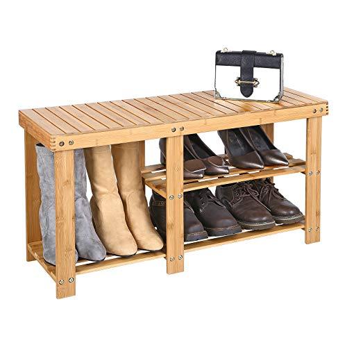 954e60f5dd72 SONGMICS 100% Bamboo Shoe Rack Bench
