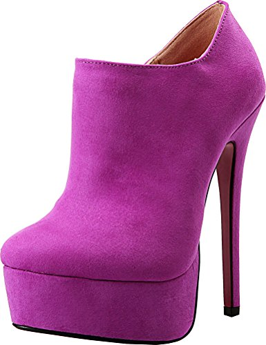 Abby A-11 Womens Supper High Heeled 6.3IN Nightclub Party Cross Dressing Overside US9-17 Round Toe Platform PU Pumps Pink