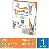 Hammermill Fore Multi-Purpose 24lb Copy Paper, 8.5x11, 1 Ream, 500 Sheets, Made in USA, Sustainably Sourced From American Family Tree Farms, 96 Bright, Acid Free, Economical Printer Paper, 103283R