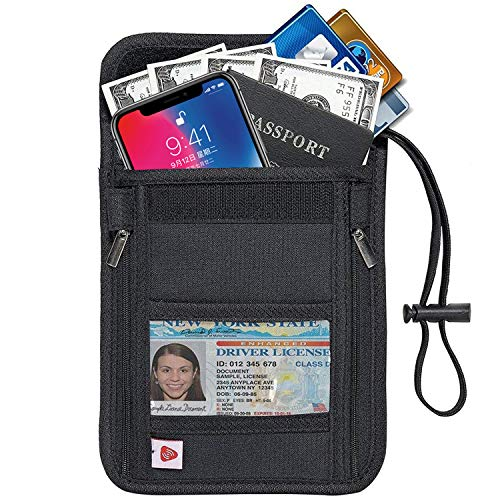AIKELIDA RFID Blocking Passport Holder Neck Stash Pouch Security Travel Wallet for Women Men - Black