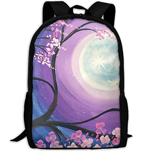 Night Full Moon Backpack Briefcase Laptop Travel Hiking School Bags Stylish Daypacks Shoulder - Valley Pa Oxford