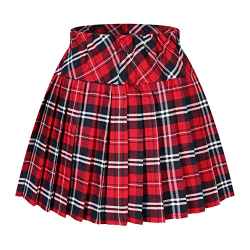 Genetic Los Angeles Women's Elasticated Pleat Scotland Skirt Costumes (M Red Blue White) -