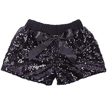 Cilucu Baby Girls Shorts Toddler Sequin Shorts Sparkles on Both Sides Black 3T