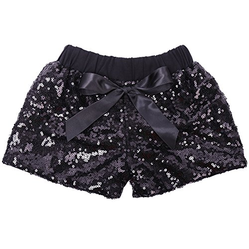 Cilucu Baby Girls Shorts Toddler Sequin Shorts Sparkles on Both Sides Black (Girls Black Sequin)