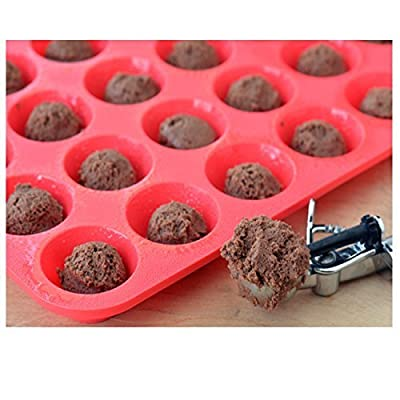 Silicone Muffin Pans, SySrion Large 12 Cups Cupcake Pan & Mini 24 Cups Muffin Pan, Non-stick, Food Grade Silicone Mold Material- Dishwasher - Heat Resistant Tins up to 450°F - Microwave Safe - Red