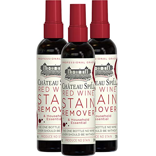 Chateau Spill Red Wine Remover - 4 oz/120 ml Spray Bottle | Wine Stain Remover for Clothes | Fabric Stain Remover | Carpet Stain Remover | Gets The Red Out | Great Wine Accessories - 3 Pack ()