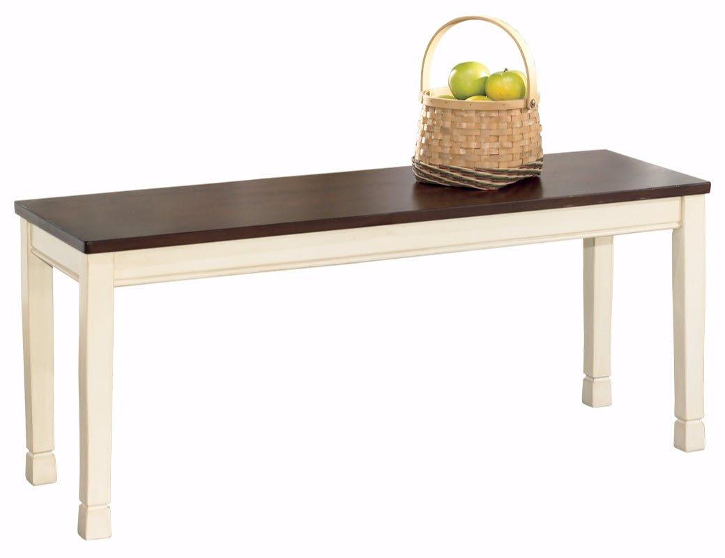 Ashley Furniture Signature Design - Whitesburg Large Dining Bench - Rectangular - Vintage Casual - Brown/Cottage White