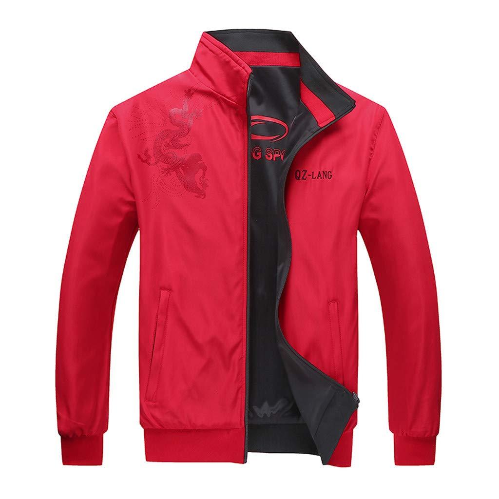 Fitfulvan Men's Casual Printed Jacket Zipper Sweatshirts Two-Sided Wear Outwear Coat Red