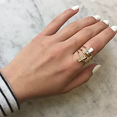 INPINK Fashion Jewelry Simplicity Bar Set of Three Rings in Marbled White