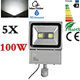 Cheap 5X 100W Daylight White LED Flood light PIR Motion Sensor Garden Security Lamp IP65,6000-6500K,8000LM-9000LM,Waterproof Security Lights