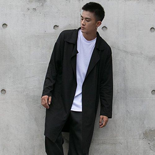 THWS Hombres chaqueta de color sólido, abrigos largos sueltos, negro, m: Amazon.es: Ropa y accesorios