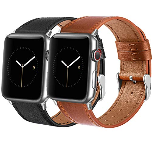 Tobfit Leather Bands Compatible with Apple Watch Band 38mm 40mm 42mm 44mm Women Men, Top Grain Leather Wristband, Black&Brown, 38mm/40mm