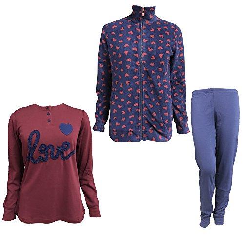 completo cotone e art micropile donna NOI zip giacca full pigiama 6387 Blu NOTTE in caldo DI AnxpAr