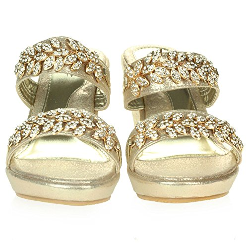 AARZ LONDON Womens Ladies Crystal Diamante Evening Bridal Wedding Party Prom Slip-On Wedge Heel Sandals Shoes Size Gold 7vEOXG1WE0