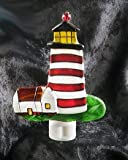 LIGHTHOUSE painted glass NIGHTLIGHT nautical DECOR