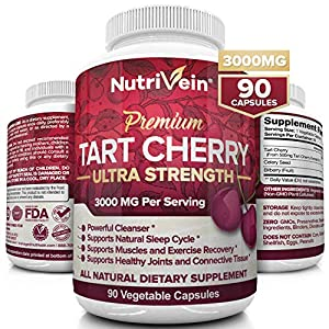 Nutrivein Tart Cherry Capsules 3000mg – 90 Vegan Pills – Antioxidants, Flavonoids – Supports Uric Acid Cleanse, Pain Relief, Muscle Recovery, Joint Pain, Healthy Sleep, Juice Extract Supplement