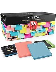 ARTEZA Haftnotizen 76 x 76mm | 96 Blöcke, 100 Blatt pro Block | Großpackung mit Verschiedenen Farben | Mehrmaliges Umplatzieren und Saubere Entfernung | Für Erinnerungen, Büro, Schule und Zuhause
