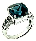 Sterling Silver 925 Ring GENUINE GEMSTONE Cushion 12 mm and Side-Stone with RHODIUM-PLATED Finish (10, london-blue-topaz)