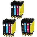 AQree 12 Pack Remanufactured Ink Cartridges Compatible Use for XP-100 XP-200 XP-300 XP-310 XP-400 XP-410 WF-2520 WF-2530 WF-2540 Printer (3x Black, 3x Cyan, 3x Magenta, 3x Yellow)