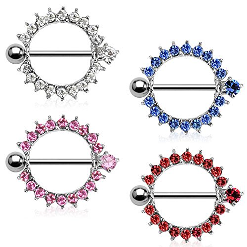 Dynamique 14G Pair of Gem Set Barbell Nipple Shields (Red)