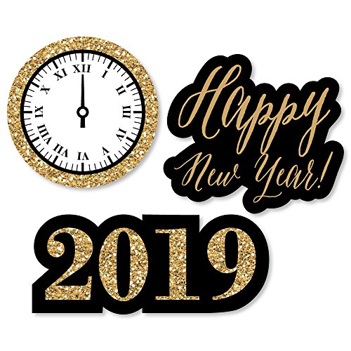 Big Dot of Happiness New Year's Eve - Gold - DIY Shaped 2019 New Years Eve Party Cut-Outs - 24 -