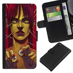 Sony Xperia Z3 D6603 / D6633 / D6643 / D6653 / D6616 , la tarjeta de Crédito Slots PU Funda de cuero Monedero caso cubierta de piel ( Zombie Art Eye Balls Green Monster Redhead)