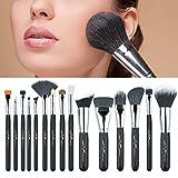 15 Pcs Makeup Brush Set, Fenleo Professional Premium Synthetic Foundation Blending Blush Concealer Eye Face Liquid Powder Cream Cosmetics Brushes Kit Wood Handle Black