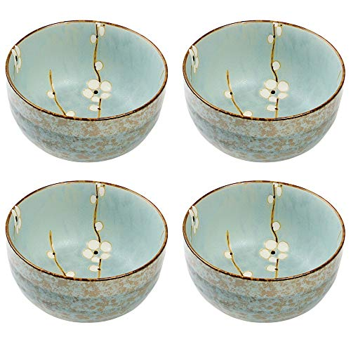 Hinomaru Collection Japanese Soshun Early Spring Cherry Blossom Set of 4 Ceramic Noodle Donburi Rice Bowl Tayo Multi Purpose Mint Green - Made In Japan (5