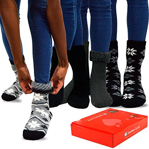 TeeHee Super Warm Brushed Thermal Crew Socks 4 Pairs Pack with Gift Box (9-11, (Htr Box)
