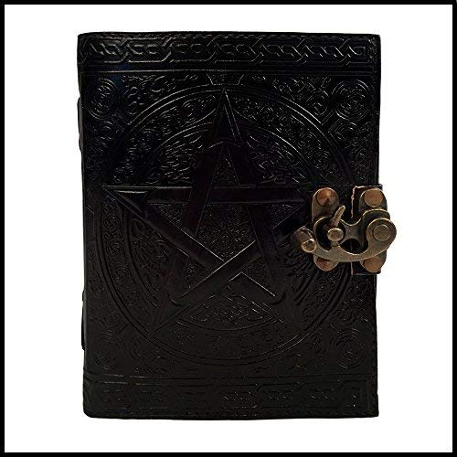 Pentagram Witch Craft - Diario de piel con relieve, organizador de citas, agenda diaria, agenda de oficina, cuaderno...