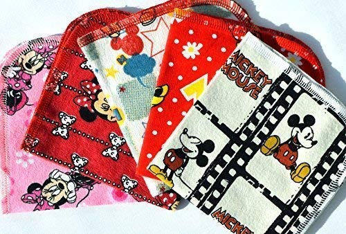 1 Ply Printed Flannel Little Wipes 10x10 Inches Set of 5 Mickey and Minnie