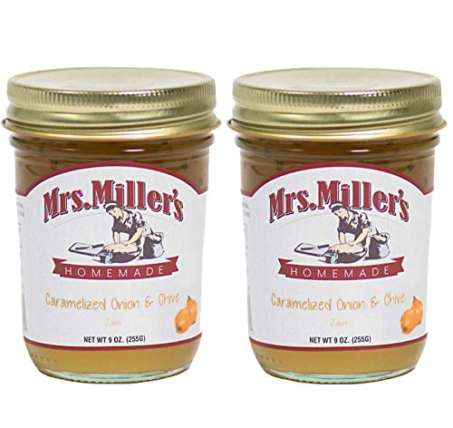 Mrs. Miller's Amish Homemade Caramelized Onion & Chive Jam 9 Ounces - Pack of 2