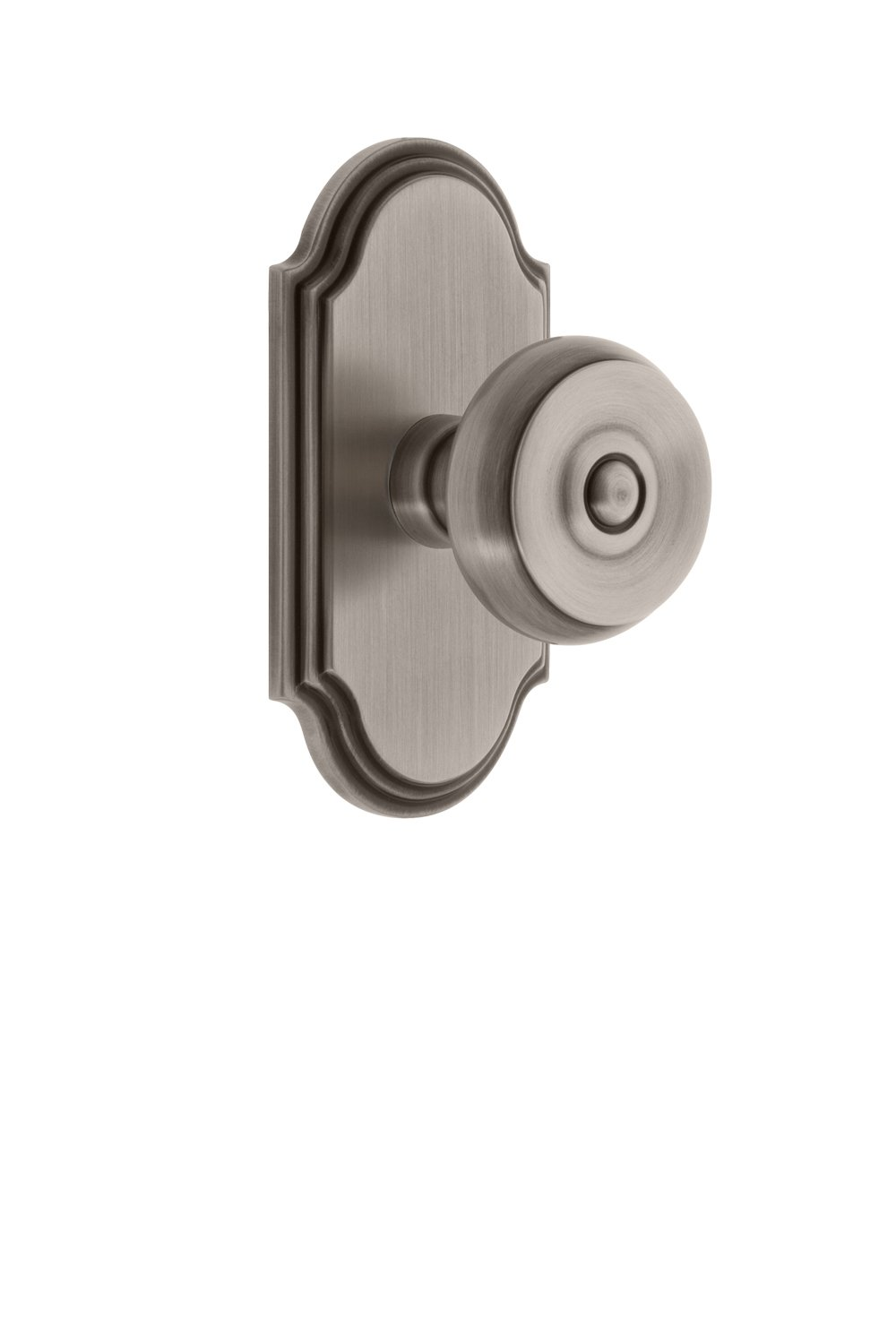 Grandeur 811535 Arc Plate Double Dummy with Bouton Knob in Satin Nickel