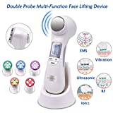 Radio Frequency Skin Tightening Machine 6 in 1 EMS Massager RF Facial Lifting Machine with 5 Color Lights Ion for Wrinkle Remove Anti-aging Skin Rejuvenation Multifunctional Beauty Device