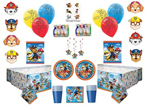 Paw Patrol Deluxe Party for 16 Guests - Includes Plates, Cups, Napkins, Birthday Hats, Balloons, Masks, Loot Bags, Hanging Swirls, Tattoos, Tablecovers, Blowouts - Decorations Supplies Caribbean Deluxe Party Kit